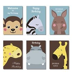 Cute birthday cards vector
