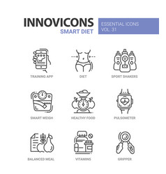 Diet - modern color single line icons set vector
