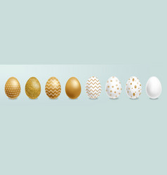 easter painted golden eggs realistic vector image