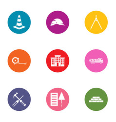 establishment icons set flat style vector image