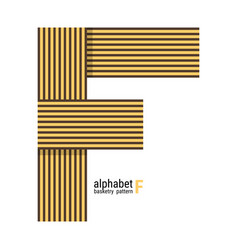 F - unique alphabet design with basketry pattern vector