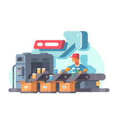 factory worker standing on sorting line vector image