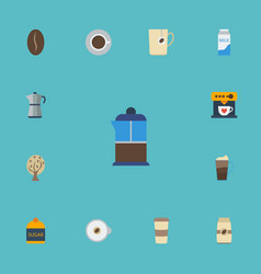 Flat icons arabica bean plastic cup timber and vector