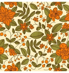 floral seamless pattern with orange berries vector image