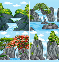 Four scenes of waterfall at daytime vector