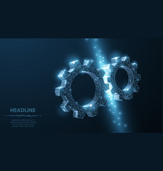 gears abstract wireframe two gear 3d vector image