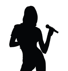 Girl singing silhouette vector