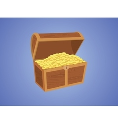 gold wooden box with golds and pirate box with vector image