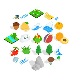 grain icons set isometric style vector image