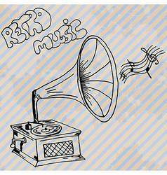 Gramophone retro hand drawn design card vector