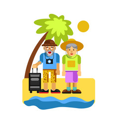Grandparents on rest near seaside happy middle vector