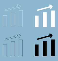 Growth chart the black and white color icon vector