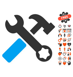 hammer and wrench icon with dating bonus vector image