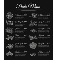 Hand drawn pasta menu vector image
