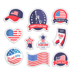 Happy flag day usa day set vector