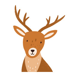 head funny young deer with horns portrait of vector image