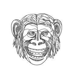 Humanzee smiling doodle vector
