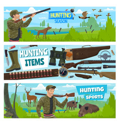 Hunt open season animals hunter adventure vector