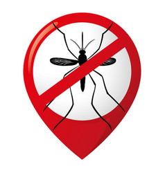 Icon location pin stilt mosquitoes forbidden sign vector