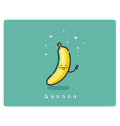 Icon of banana fruit funny cartoon character vector