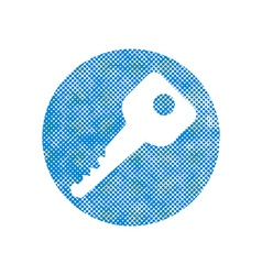 Key Icon with pixel print halftone dots texture vector image