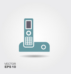Landline icon in flat style isolated on grey vector