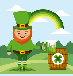 leprechaun holding green beer and barrel rainbow vector image