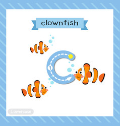 Letter c lowercase tracing clownfish vector