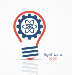 light bulb idea icon with gear and atom model vector image