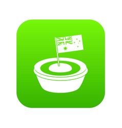 little flag icon digital green vector image