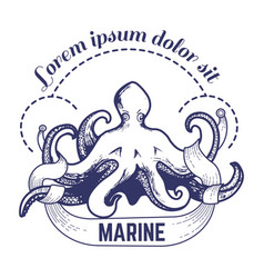 Marine big octopus with tentacles monochrome vector