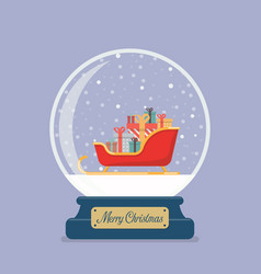 Merry christmas glass ball with santa sleigh vector