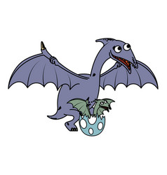 Mother pterodactyl with babreaking shell vector