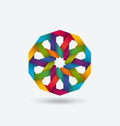 Multicolor geometric circular pattern symbol vector