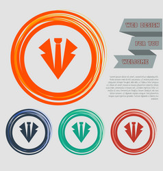 necktie icon on the red blue green orange buttons vector image