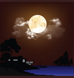 night time shoreline vector image
