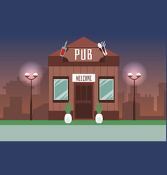 Old style pub on night modern cityscape background vector
