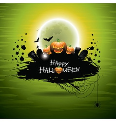 On a Halloween theme on green backgro vector
