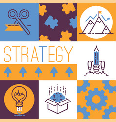 outline strategy icons banner vetor vector image