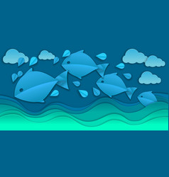 Paper cut sea and fishes vector
