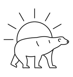 polar bear on sun logo outline style vector image