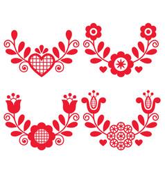 Polish folk art wreath design collection vector