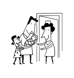 Proud dad with new baoutlined cartoon hand drawn vector