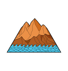 Ragged mountain waves mono line vector