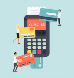 Rejected online card remote payment system tiny vector