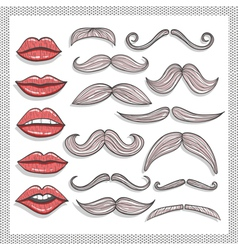 Retro lips and mustaches elements set vector image
