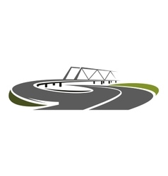 Road bridge above speed highway vector image