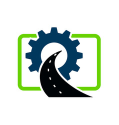 Road construction logo maintenance creative vector