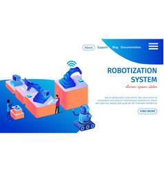 robotization system banner future technologies vector image