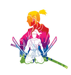 samurai composition with swords cartoon graphic vector image